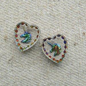画像1: Unicorn Heart Glass Intaglio Pendant