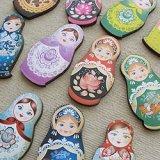 Print Wooden Charm Russian Dolls