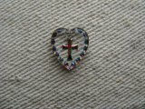 Tiny Cross Heart Glass Intaglio Pendant