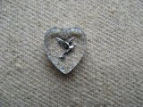 Tiny Dove Heart Glass Intaglio Pendant【SV】