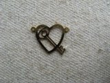 Vintage Key in a Heart Charm