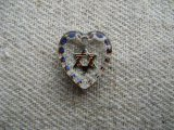 "Tiny""Star of David ""Heart Glass Intaglio Pendant"