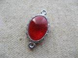 Vintage Silver Bezel+Ruby Glass Stone
