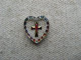 Cross Heart Glass Intaglio Pendant (L)
