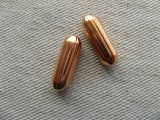 Vintage Copper Corrugated Tube Beads 2個いり