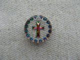 Cross Round Glass Intaglio Pendant