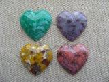 Vintage Marble Plastic Heart Cabochon
