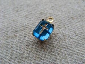 画像3: Vintage Glass Cabochon With Cross 【Tiny】