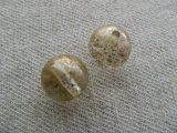 Plastic Clear+Gold-spray Round Beads 2個いり