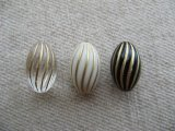 Vintage style Acrylic Fluted Oval Beads 2個いり