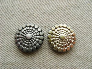 画像1: Glass Silver/Gold AB dot cabochon (S)