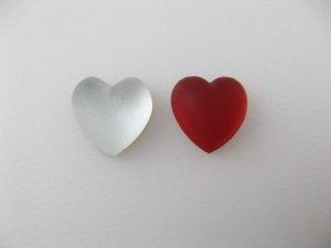 画像1: Vintage Mat/Crystal Heart Cabochon(S)