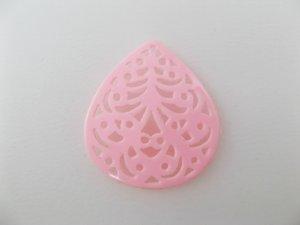 画像1: Vintage Plastic Pink Filigree Charm