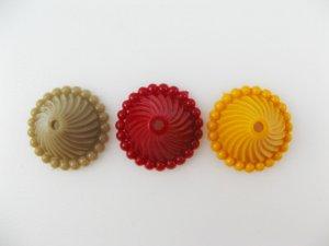 画像1: Vintage Plastic Grooved Cap Beads