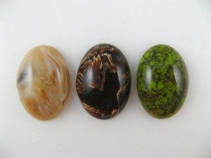 画像1: Plastic Marbled Oval Cabochon 25x18mm