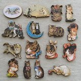 Print Wooden Charm Kitty Cats