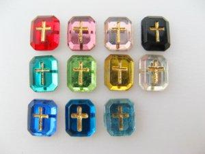 画像1: Vintage Glass Cabochon With Cross 【Tiny】
