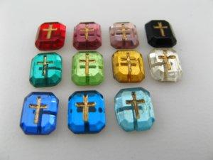 画像2: Vintage Glass Cabochon With Cross 【Tiny】
